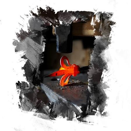 smithy: Elemento nella fucina incandescente Archivio Fotografico