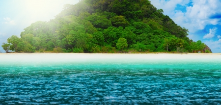 Sunny tropical beach on the island photo