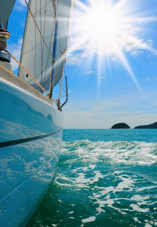 Yacht in the open sea photo