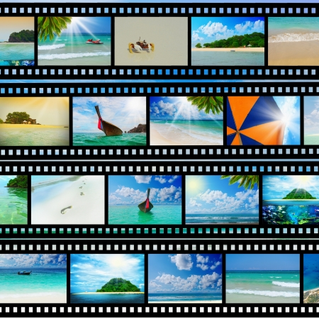 travel collage: Film strip with beautiful holiday pictures