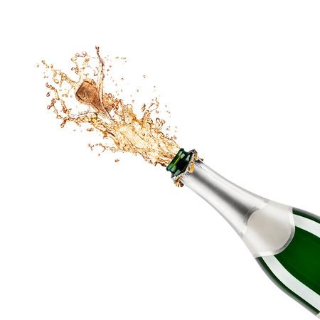 Mooie foto van een fles champagne Stockfoto