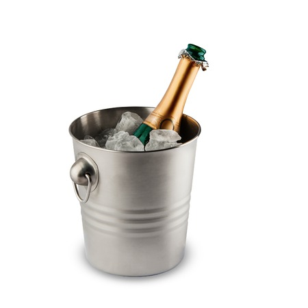 popping cork: Beautiful picture of a bottle of champagne in an ice bucket Stock Photo