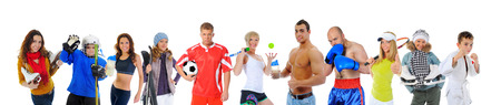 The team of great athletes from different sports  isolated on a white background photo