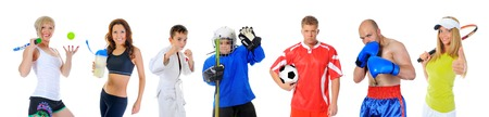 The team of great athletes from different sports  isolated on a white background Stock Photo