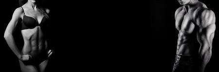 ボディービル。強い男と女、黒の背景にポーズ