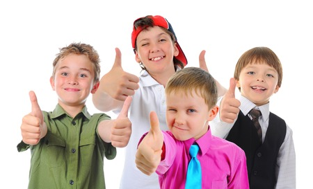 Group of children posing  Isolated on white background photo