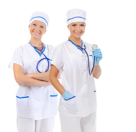 Smiling medical doctor woman with stethoscope. Isolated over white background. Stock Photo - 27735771