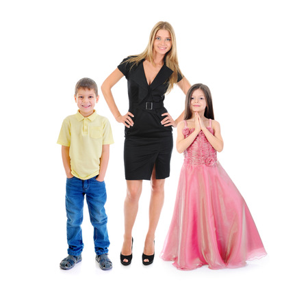 Portrait of a happy smiling family. Isolated on white background Stock Photo - 27735805