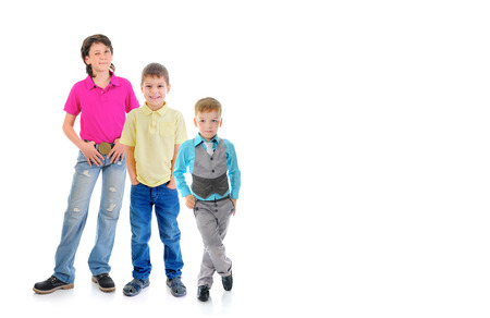 Group of children posing. Isolated on white background photo