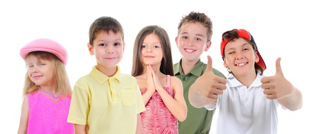 Group of children posing  Isolated on white background Stock Photo - 27735849