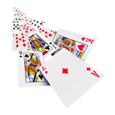 The combination of playing cards poker casino  Isolated on white background Standard-Bild