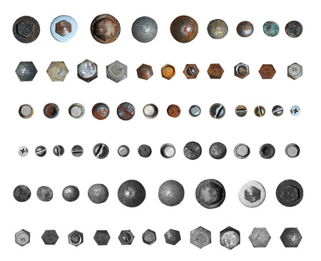 Screws head collection. Isolated on white background photo