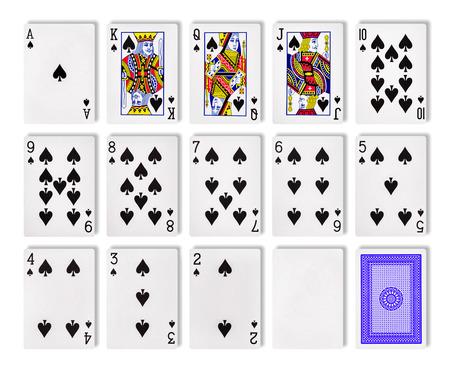 De combinatie van speelkaarten poker casino. Geïsoleerd op witte achtergrond Stockfoto