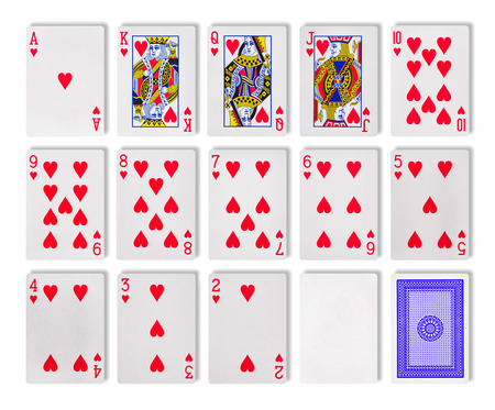 The combination of playing cards poker casino. Isolated on white background Stock Photo