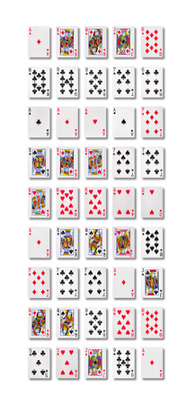 Poker hand rankings symbol set  Playing cards in casino.  Stock Photo