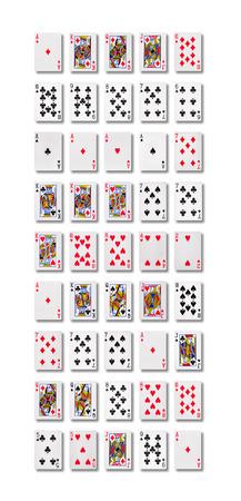 Poker hand rankings symbol set  Playing cards in casino.  Stockfoto