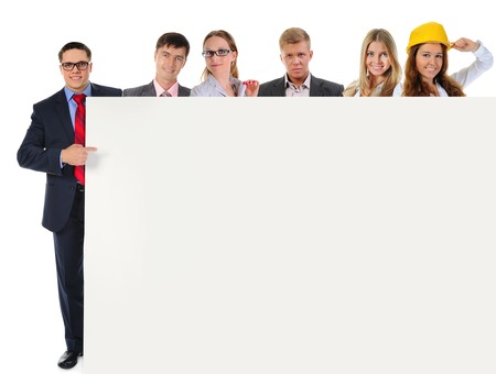 Happy smiling business team. Isolated on white background Stock Photo