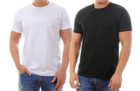 jonge man in een T-shirt op een witte achtergrond