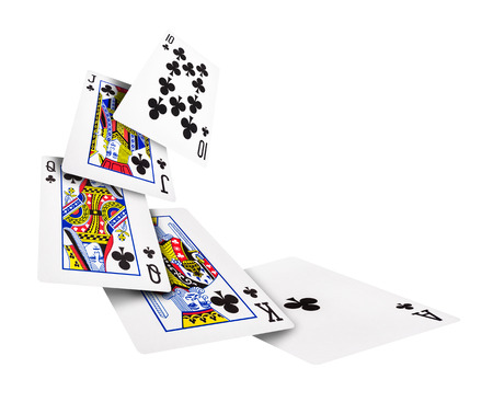 The combination of playing cards poker casino  Isolated on white background Stockfoto