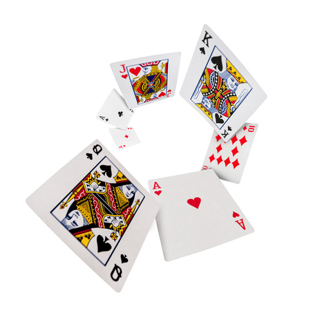 The combination of playing cards poker casino  Isolated on white background photo