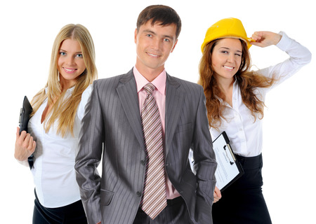 Happy smiling business team  Isolated on white background photo