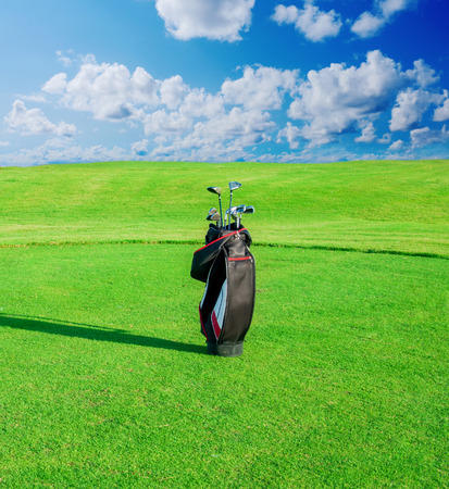 golf field: Golf club  Bag with golf clubs Green golf field and ball in grass Stock Photo