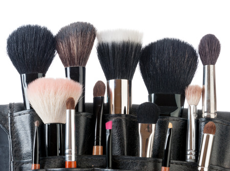 make up products: Professional make-up brush cosmetic isolated on white background
