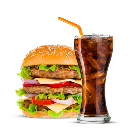 junk: Cola and Big beautiful juicy burger with meat and vegetables. Isolated on white background