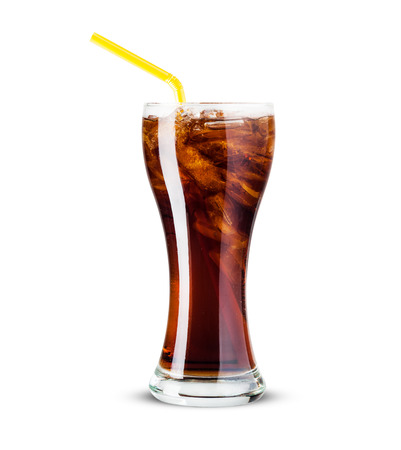 fizzy: Glass of cola with ice Isolated on white background