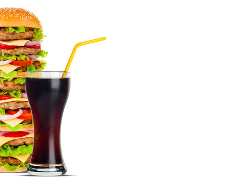 close up food: Cola and Big beautiful juicy burger with meat and vegetables. Isolated on white background