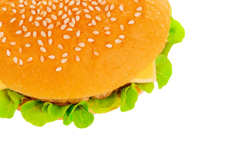 Big beautiful juicy burger with meat and vegetables. Isolated on white background photo