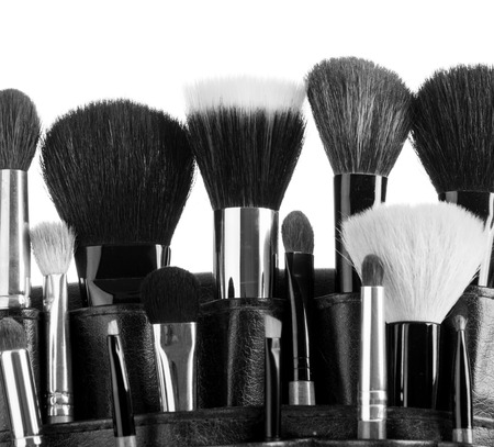 makeup artist: Professional make-up brush cosmetic isolated on white  Stock Photo