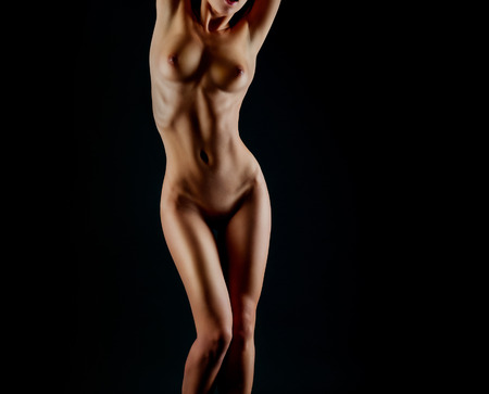 nice breast: Sexy body nude woman. Naked sensual buttocks isolated on black