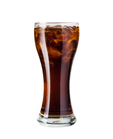 carbonation: Glass of cola with ice Isolated on white background
