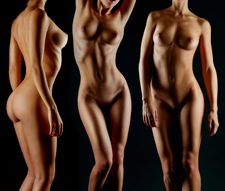 Sexy body nude woman. Naked sensual buttocks isolated on black