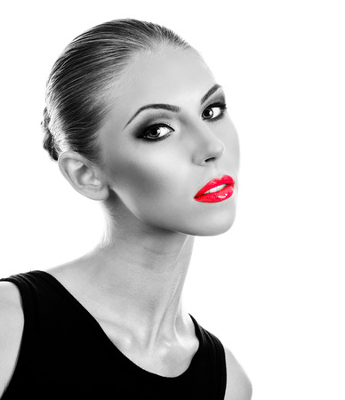 Professional Make up concept. Portrait of young beautiful woman with beauty makeup and perfect skin. Isolated on white background photo