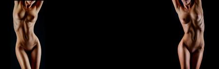 seni: Corpo della donna sexy nude. Nudo natiche sensuali isolato su nero
