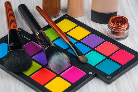 Set of professional makeup and cosmetics. on a light background isolated