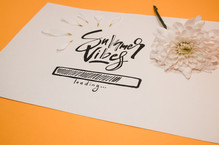 Hello summer concept.  A white paper where is wtitten with nice handwriting - Summer vibes loading. Summer quote and a white flower on the orange background