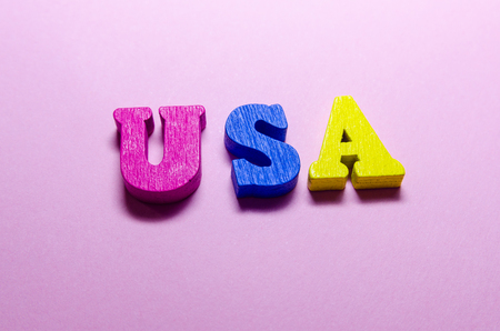 word usa with colored wooden letters. geographical location