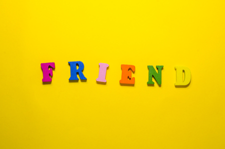 word friend compossed with colored letters