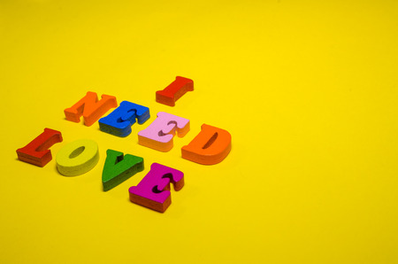 i need love written with wooden colored letters Stockfoto