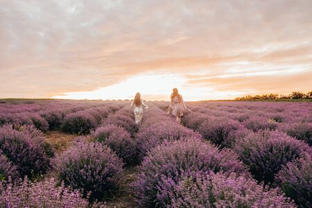 women running in the lavender field. two girls and gay pride concept