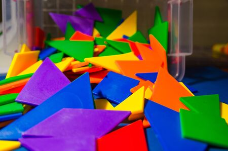 close up view of colorful constructor pieces and elements in a plastic box Stok Fotoğraf
