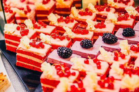 cande bar with wildberries. red velvet with currant and other cakes with blackberry.