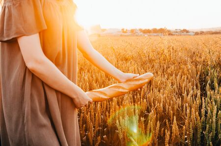 girl in dress walking with french baguette in green wheat field Banco de Imagens