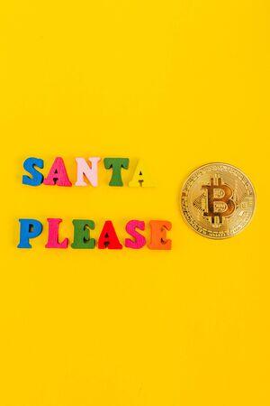 asking santa for money. santa please i need bitcoin from top view