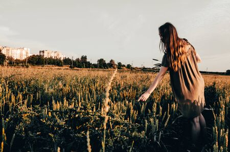 young woman ia making a wreath and is standing in golden wheat field 写真素材 - 132935892
