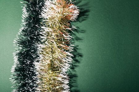 texture background of flat lay christmas colorful tinsel Imagens - 134195433