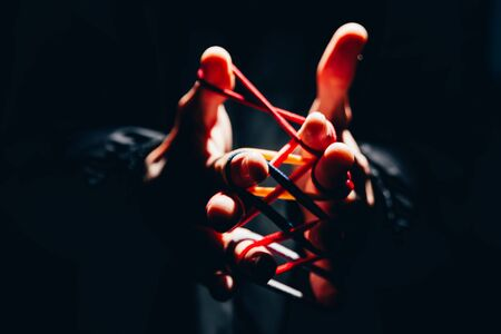 conundrum with fingers. untangle concept. develop mentally. brain game